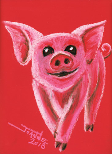 Oil Pastel Year of the Pig copyright Joanne Howard 2018