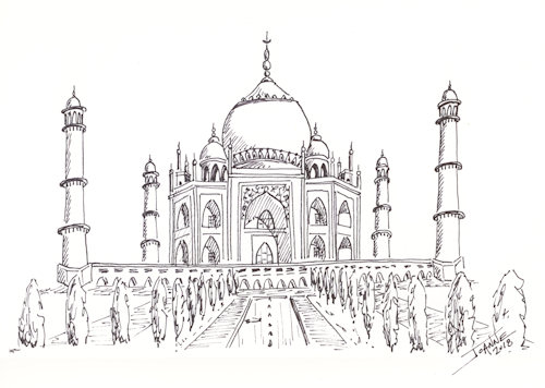 Pen & Ink Taj Mahal copyright Joanne Howard 2018